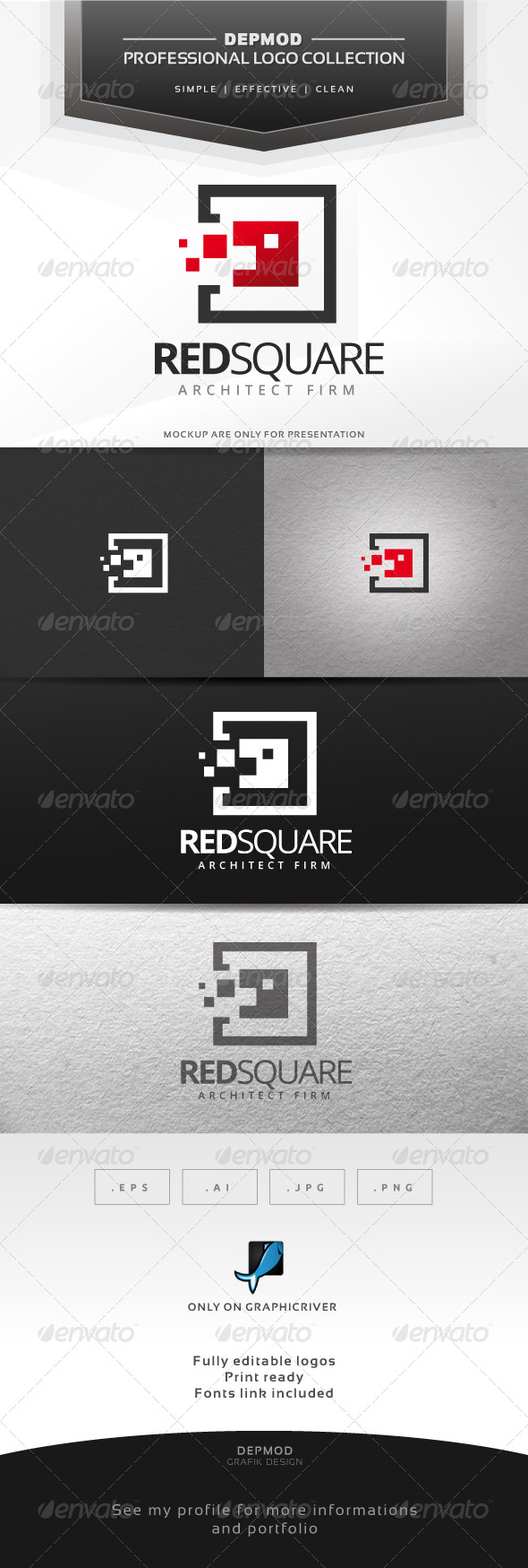 Red Square Logo - Abstract Logo Templates