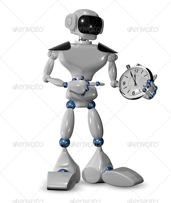 Robot and a Watch - Technology 3D Renders