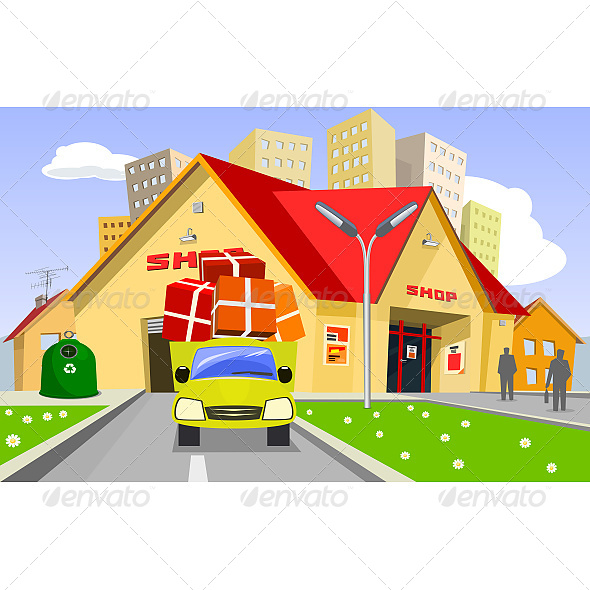 Delivery Truck Distributes Goods from Store - Commercial / Shopping Conceptual
