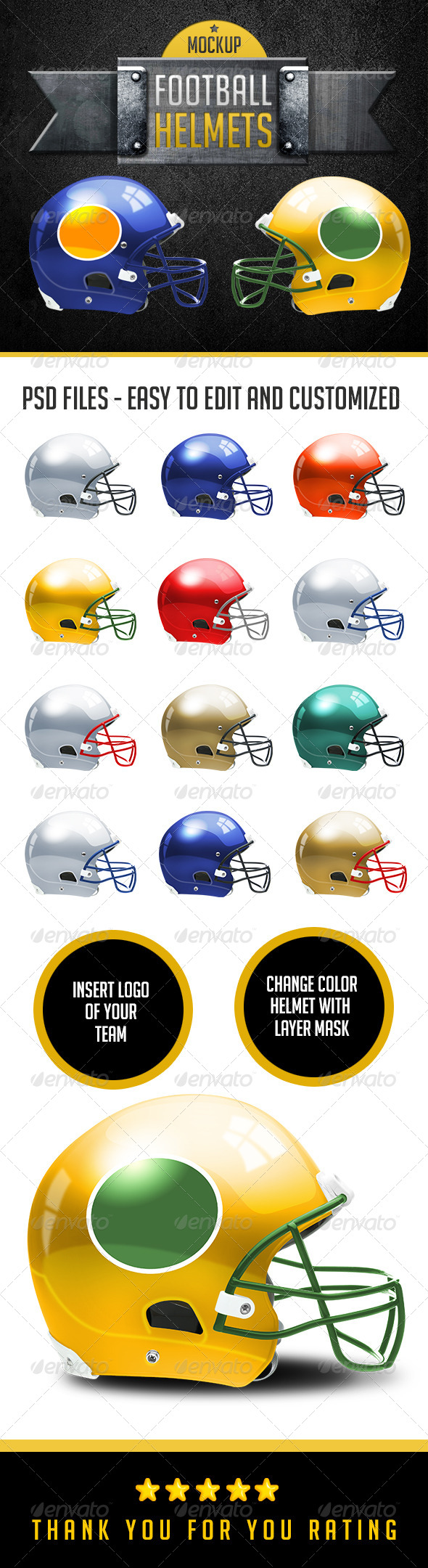 Football Helmets Layered and Editable Colors - Miscellaneous Apparel