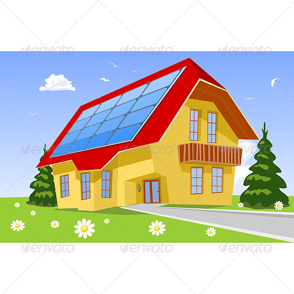 House with Solar Panels on the Roof - Buildings Objects