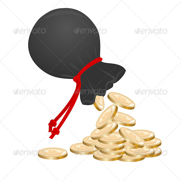 Sack with Money on Pile of Golden Coins - Commercial / Shopping Conceptual
