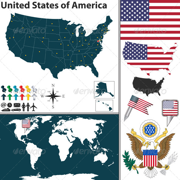 Map of United States of America - Travel Conceptual