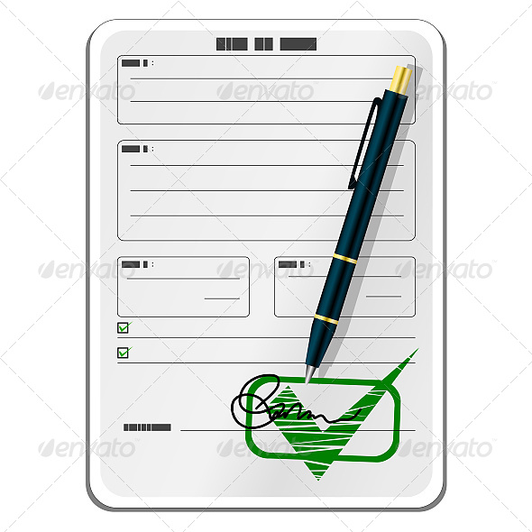 Blank Form with Signature and Pen - Commercial / Shopping Conceptual