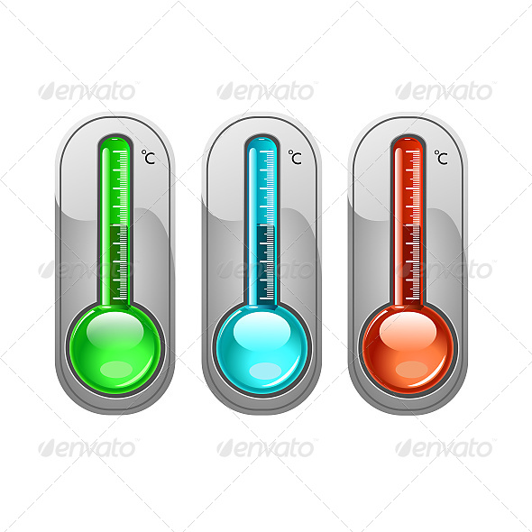 Three Color Thermometer Vector - Objects Vectors