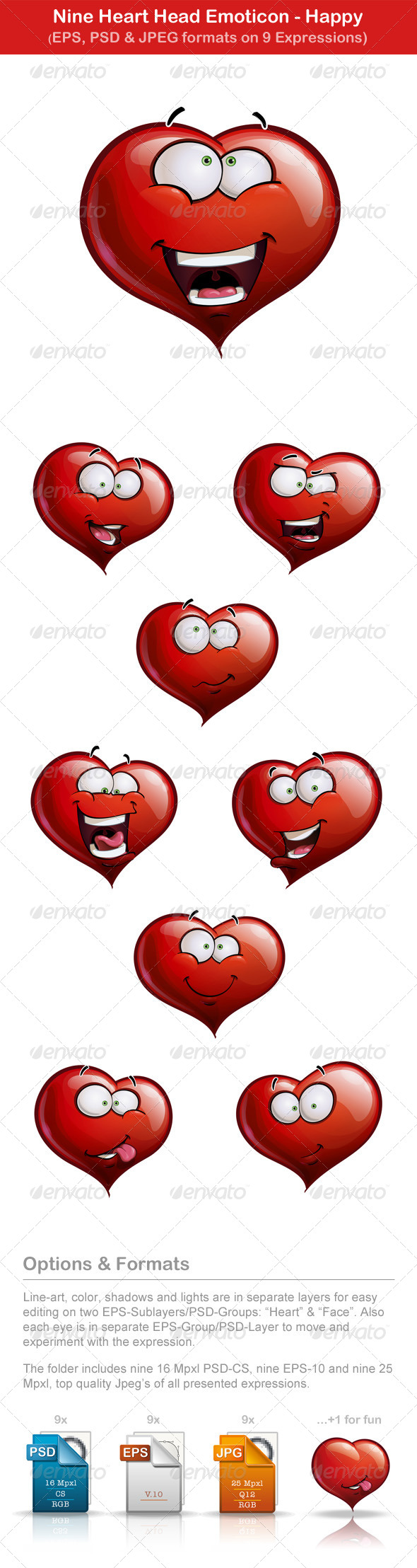 Nine Happy Heart Head Emoticons - Valentines Seasons/Holidays