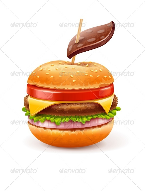 Unhealthy Eating Concept with Hamburger Like Apple - Health/Medicine Conceptual
