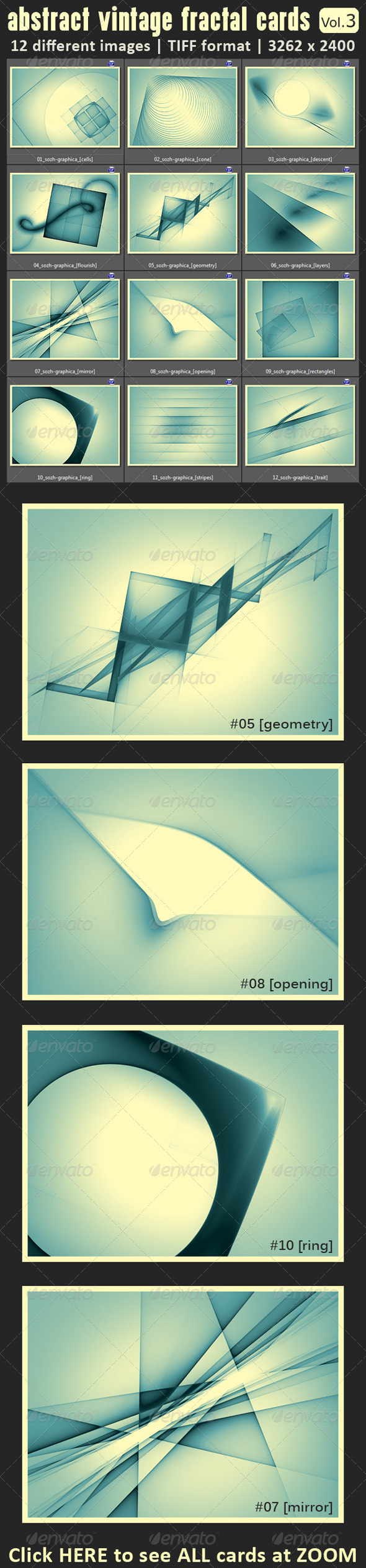 12 Abstract Fractal Vintage Cards - Abstract Backgrounds