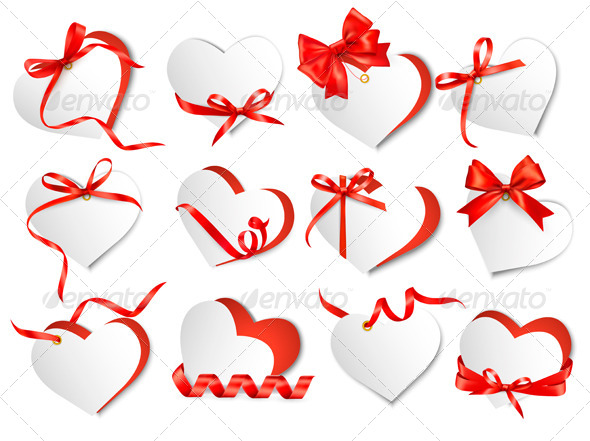 Set of Beautiful Gift Cards with Red Gift Bows - Valentines Seasons/Holidays