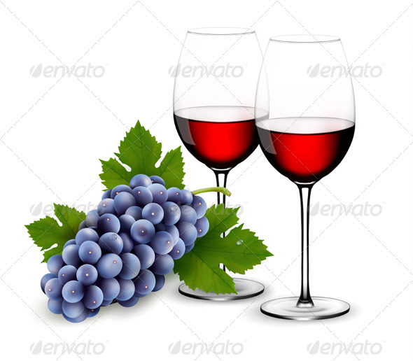 Two Glasses of Red Wine with Grapes - Food Objects