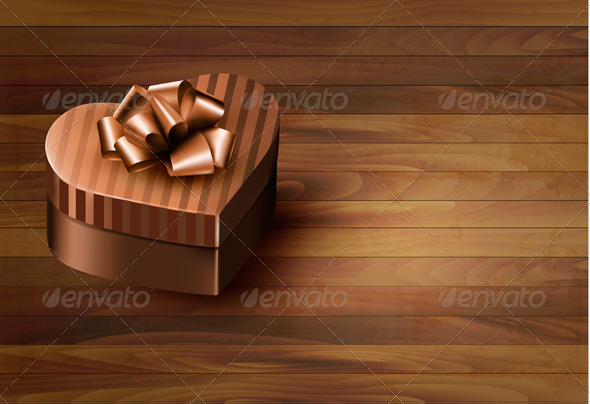 Heart-Shaped Gift Box on Wooden Background - Valentines Seasons/Holidays