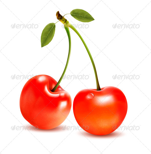 Ripe Red Cherry Berries with Leaves - Food Objects