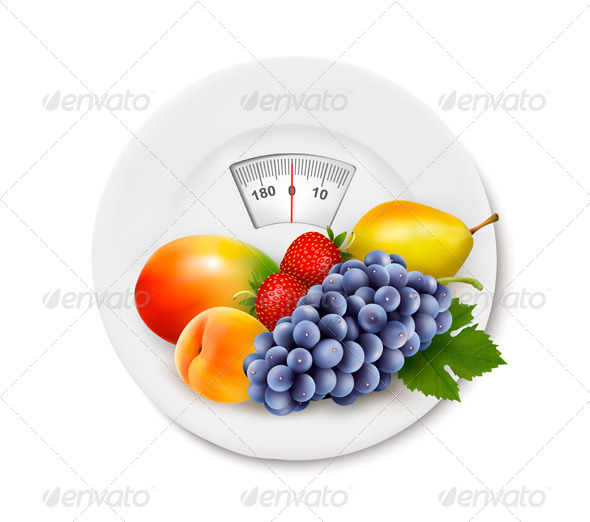 Fruit on the Weight Scale Diet Concept - Health/Medicine Conceptual