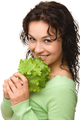 Beautiful Young Girl With Green Lettuce Leaf - PhotoDune Item for Sale