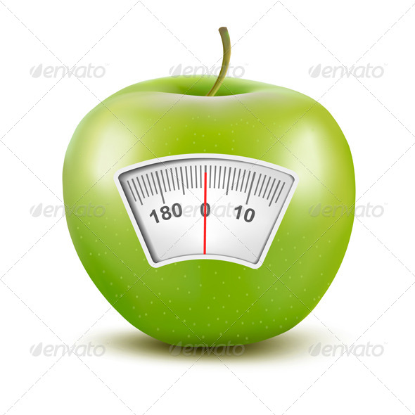 Apple with a Weight Scale Diet Concept - Health/Medicine Conceptual