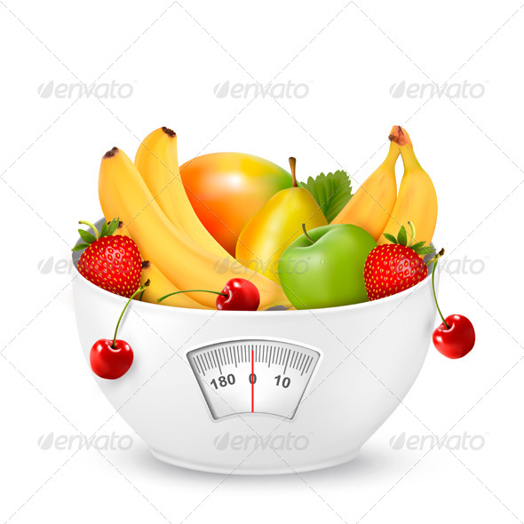 Fruit with in a Weight Scale Diet Concept - Health/Medicine Conceptual