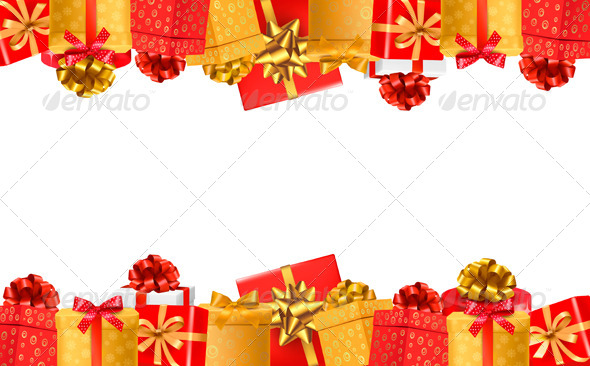 Holiday Background with Colorful Gift Boxes - Backgrounds Decorative