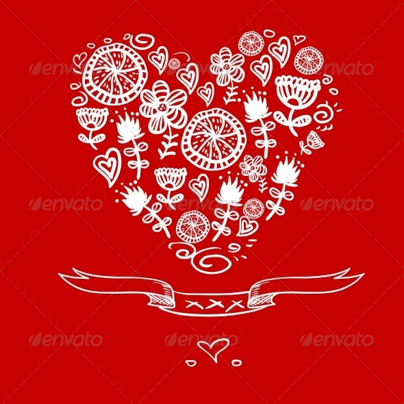 Cartoon Hearts Background - Patterns Decorative