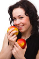 Young Attractive Woman With Two Red Apple - PhotoDune Item for Sale