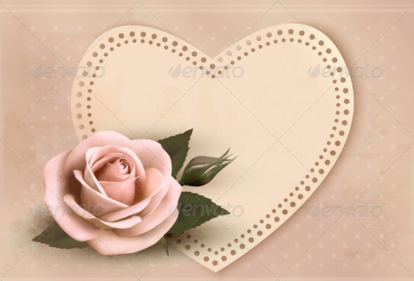 Retro Greeting Card with Pink Rose and Heart - Valentines Seasons/Holidays