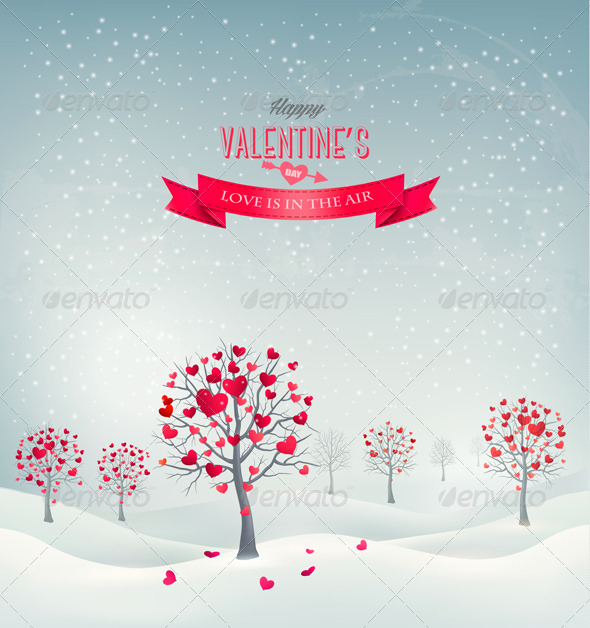Holiday Retro Background Valentine Trees with Hearts - Valentines Seasons/Holidays
