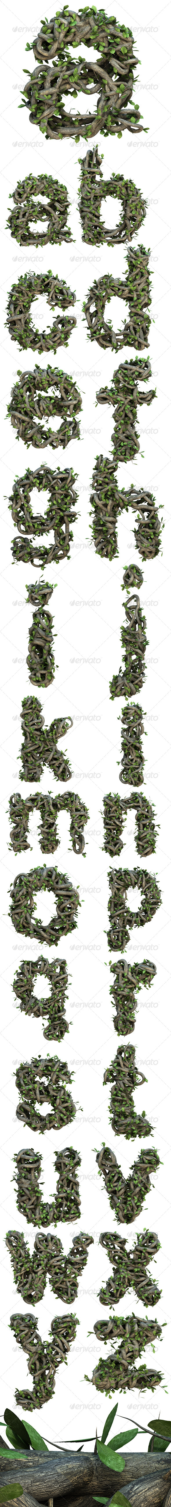 Ivy Lowercase Alphabet - Text 3D Renders