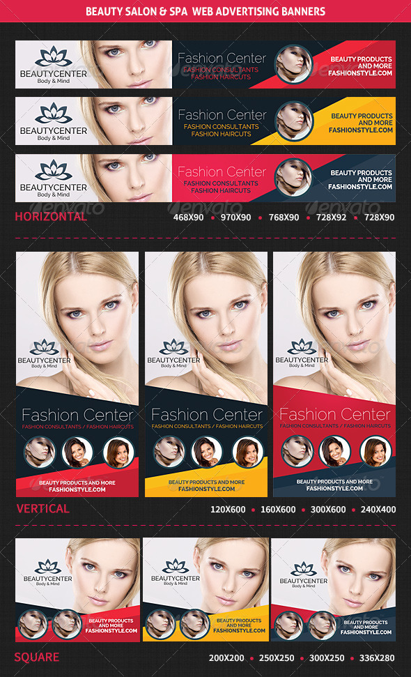 Beauty Center & Spa Web Advertising Banners - Banners & Ads Web Elements