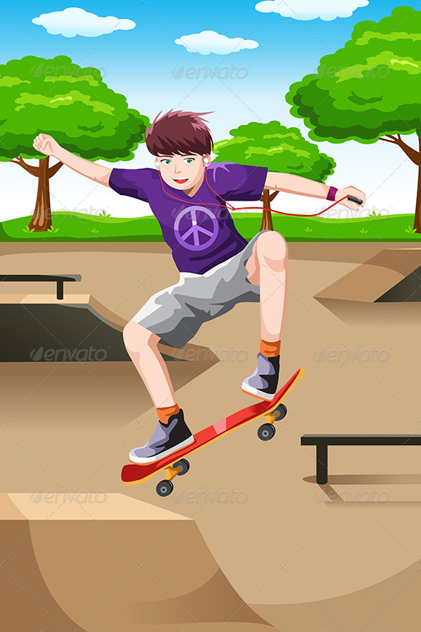 Happy Kid Playing Skateboard - Sports/Activity Conceptual