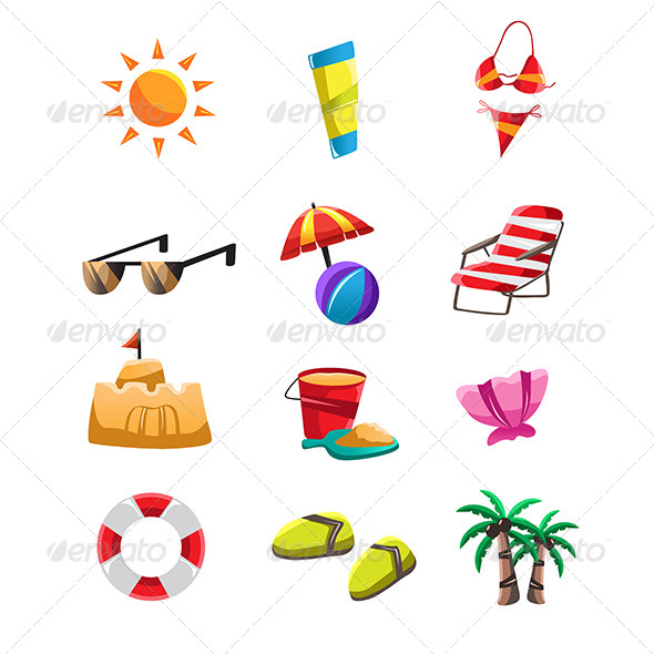 Beach Icons - Objects Vectors