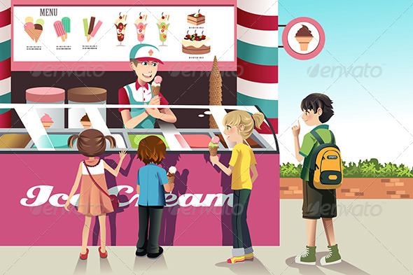 Kids Buying Ice Cream - Food Objects