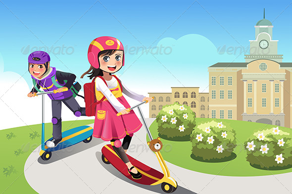 Kids Riding Scooter - Sports/Activity Conceptual