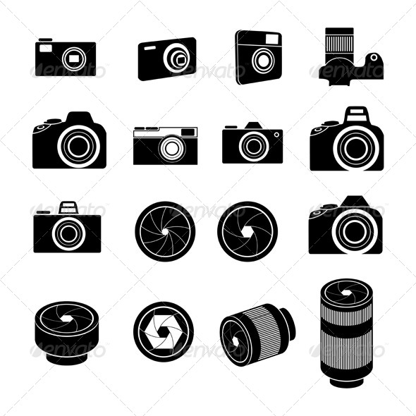 Camera Icons and Camera lens Icons - Media Technology