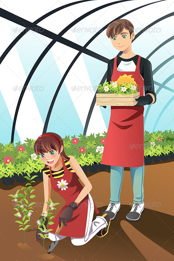 Planting in Greenhouse - People Characters