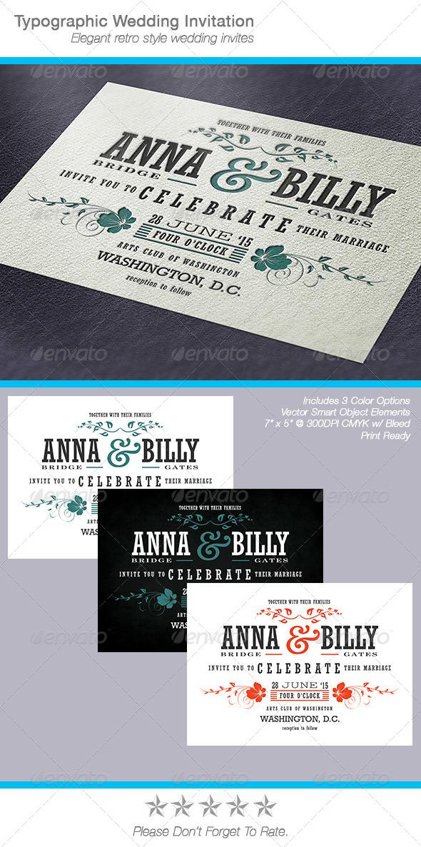 Typographic Wedding Invitation - Weddings Cards & Invites