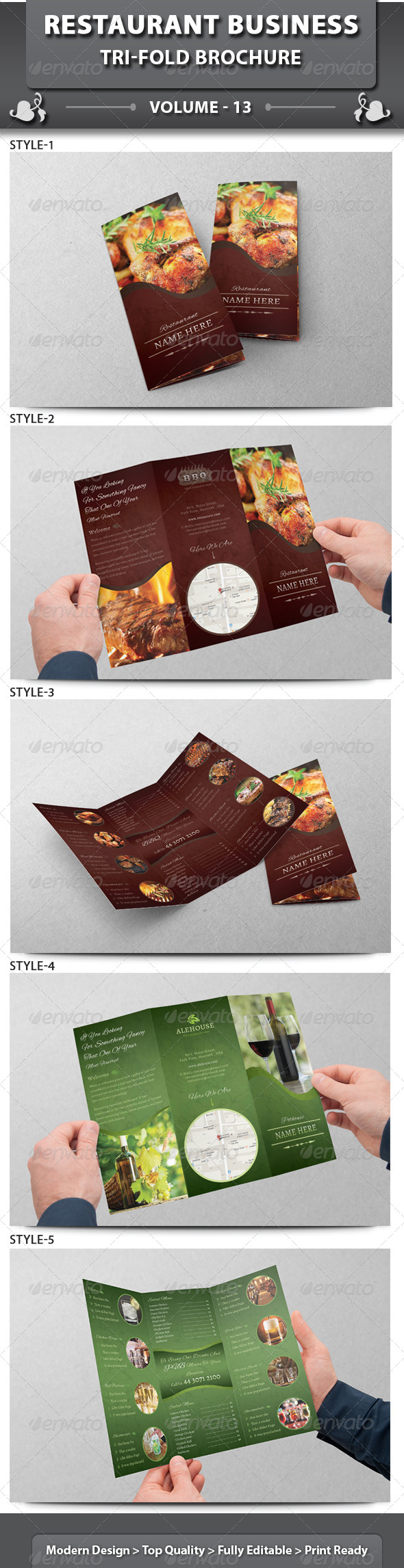 Restaurant Business Tri-fold Brochure | Volume 13 - Corporate Brochures