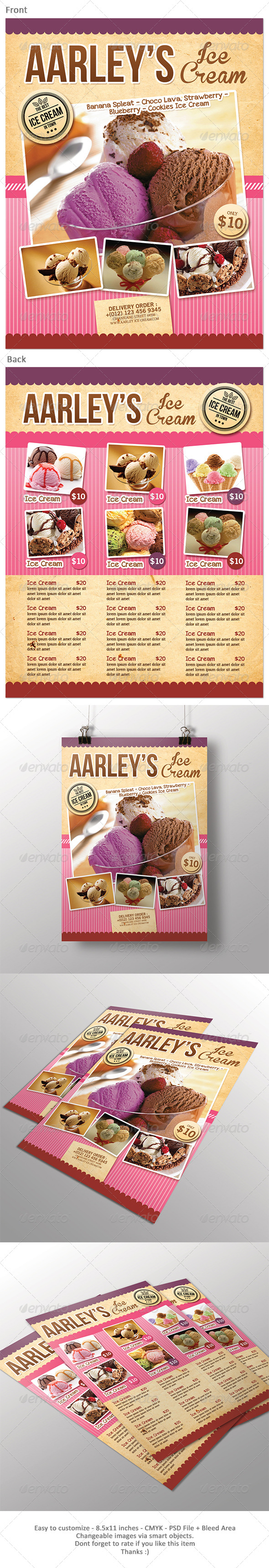 Ice Cream Menu Flyer - Food Menus Print Templates