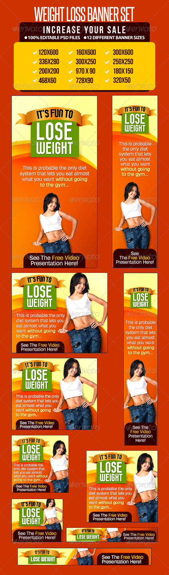 Weight Loss Banner Set - Banners & Ads Web Elements