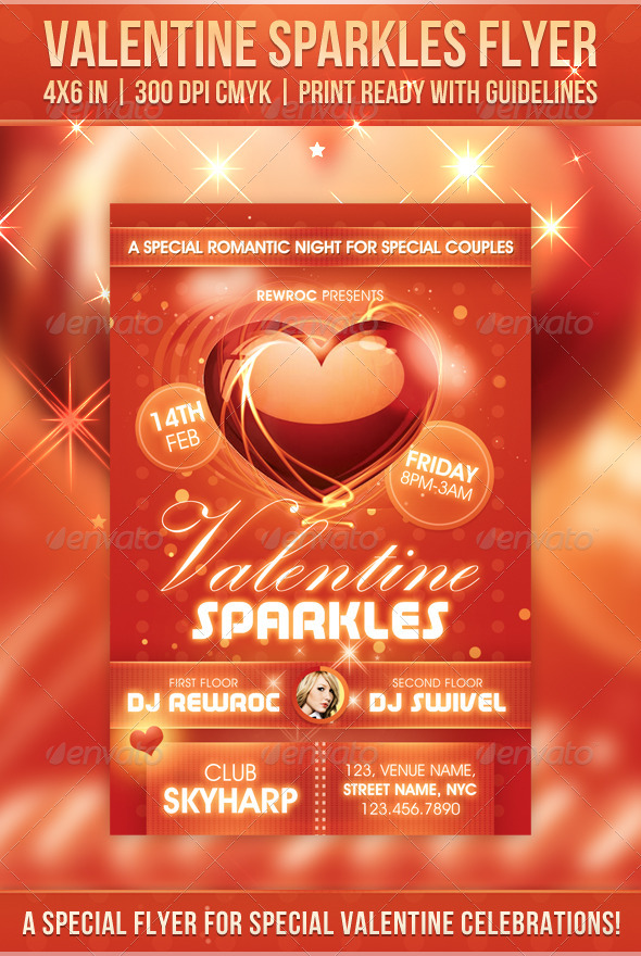 Valentine Sparkles Flyer - Holidays Events