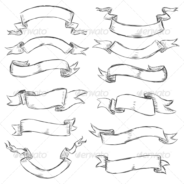 Sketch Ribbons - Decorative Symbols Decorative