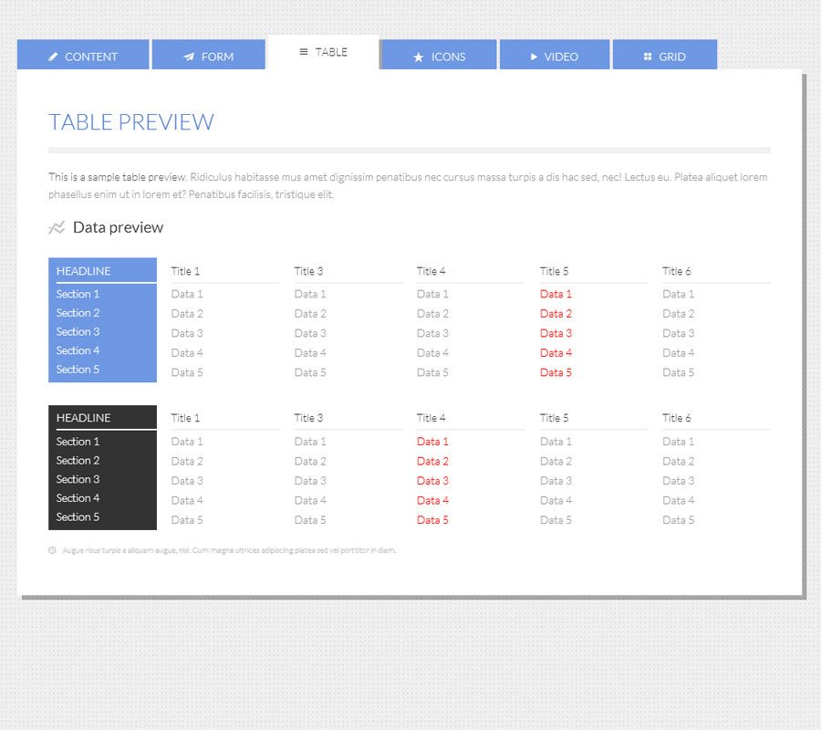 Tabbed html5 css3 responsive tabs by capelle codecanyon for Table design html5