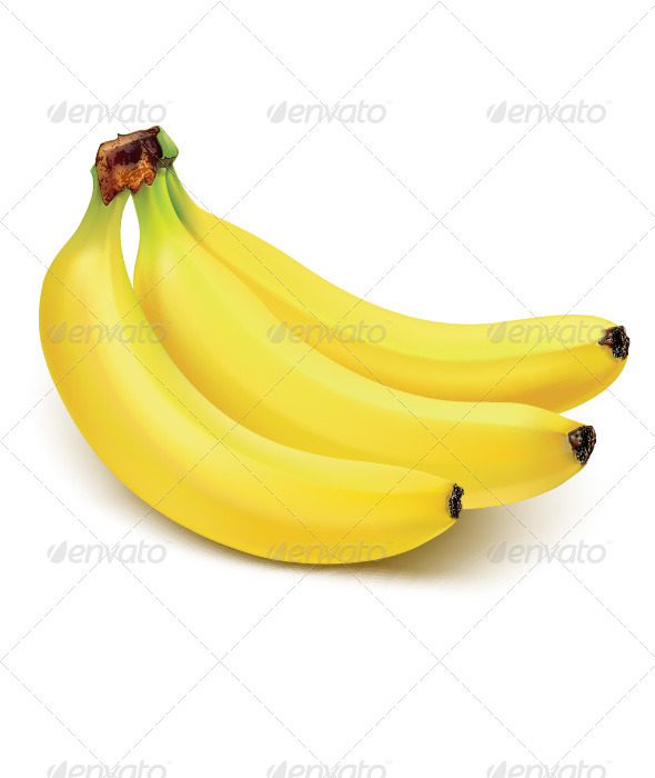 Bunch of bananas isolated on white - Objects Illustrations