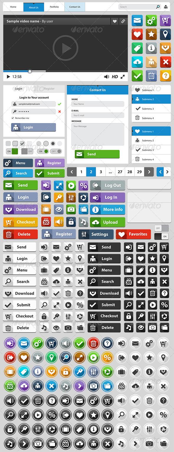 Web Design Elements Set - Web Elements Vectors