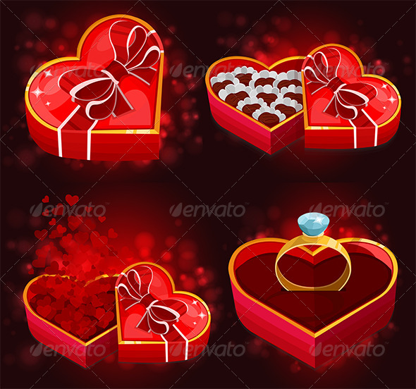 Red Heart Boxes - Valentines Seasons/Holidays
