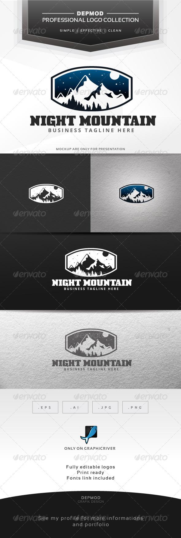 Night Mountain Logo - Nature Logo Templates