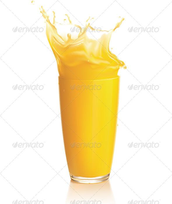 Orange Juice Splash on a White Background - Objects Illustrations