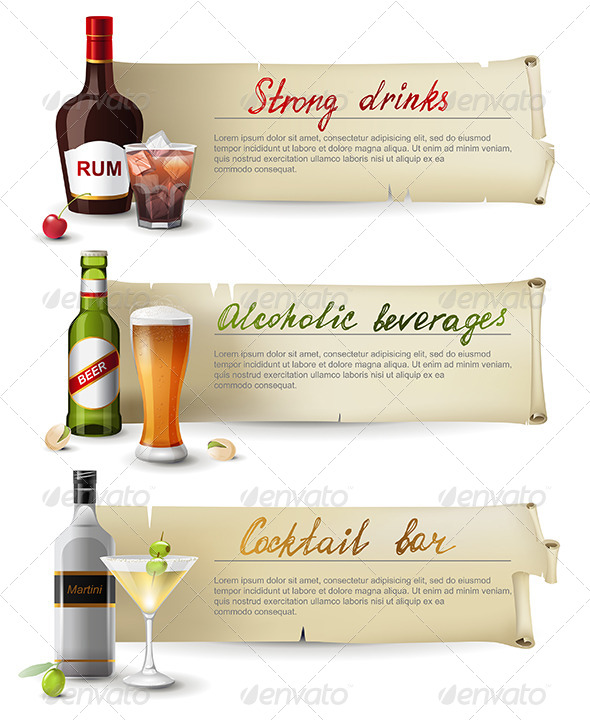 Banners with Alcoholic Drinks - Objects Vectors