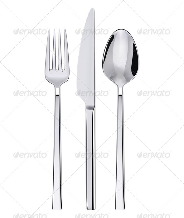 Fork, Spoon and Knife Isolated on White - Objects Illustrations