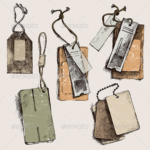 Hand Drawn Tags - Miscellaneous Vectors