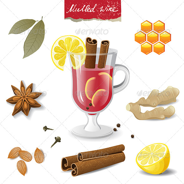 Mulled Wine Icons - Food Objects