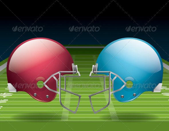American Football Field and Helmets - Sports/Activity Conceptual